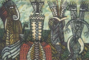 Figure 3: Fatu Feu'u, 1996, Aiga Tulua – mixed media on canvas